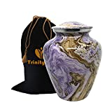 Ocean Tides Cremation Urn - Elite Waves Urn - Beautifully Handcrafted Adult Funeral Urn - 100% Solid Metal Urn - Affordable Urn for Human Ashes with Free Velvet Bag (Purple Sandy)