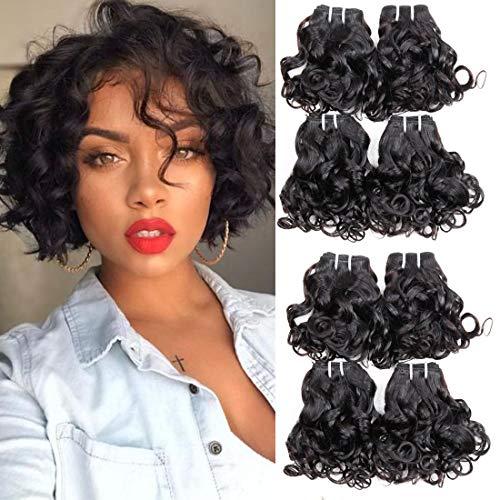 Brazilian curly hair 8 bundles Short Spiral Curl human hair bundles 100% Unprocessed Ocean Wave Hair Wet and Wavy Human Hair Bundles curly bob weave hair Extensions Total 200g