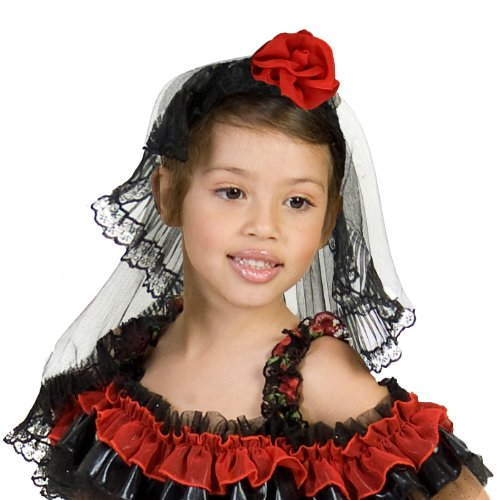 Kids Red Rose Spanish Dancer Headband Veil (Spanish Dancer Kids Costume)