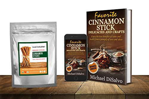 Organic True Ceylon Cinnamon Sticks 8 ounces Fairtrade, Freshly Harvested & Packed in Sri Lanka w/E-BOOK Recipes & Crafts