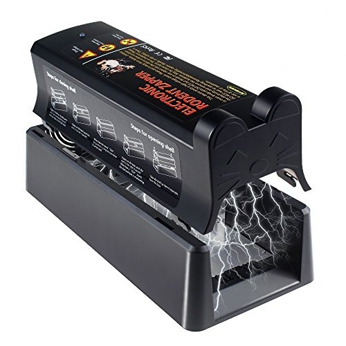 Electronic Rat Trap, Clean and Humane Extermination of Mice, Rats and Small Squirrels  For Serious Pest Control and Rodent Termination (Uses Mains Adapter Or Battery) [Upgraded]