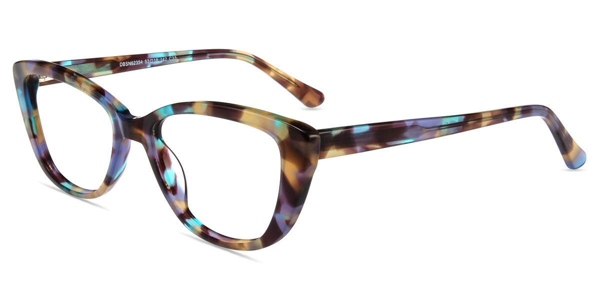 Firmoo Anti- Blue Light Computer Reading Glasses Vintage Cateye TR Plastic Pattern Frame for Women, for Contact Wearers(0.00)