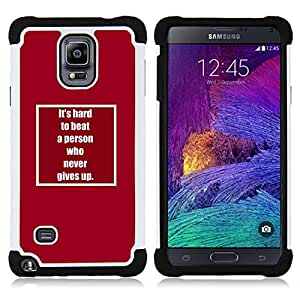 - never give up inspiring text motivating/ H??brido 3in1 Deluxe Impreso duro Soft Alto Impacto caja de la armadura Defender - SHIMIN CAO - For Samsung Galaxy Note 4 SM-N910 N910