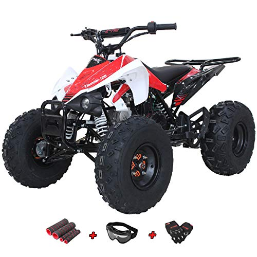 Adult 4 Wheeler (X-Pro 125cc ATV Quad Youth 4 Wheeler ATVs Adults ATV 4 Wheelers Thunder 125cc ATVs Quads with Gloves, Goggle and Handgrip)