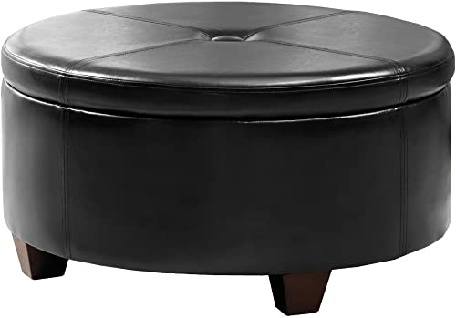 HomePop Leatherette Round Button Tufted Storage Ottoman