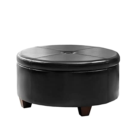 Fine Homepop Leatherette Round Button Tufted Storage Ottoman Black Dailytribune Chair Design For Home Dailytribuneorg