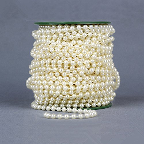 Sorive® Ivory Color DIY Jewery Accessory 28 yd 6mm Pearls Beads By the Roll for Flowers Wedding Party Decoration -