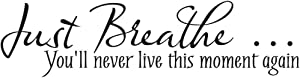 """""""Just Breathe"""" Quote Decors Wall Saying Decals Quote for Home Wall Stickers Nursery Decor Living Room Wall Decals"""