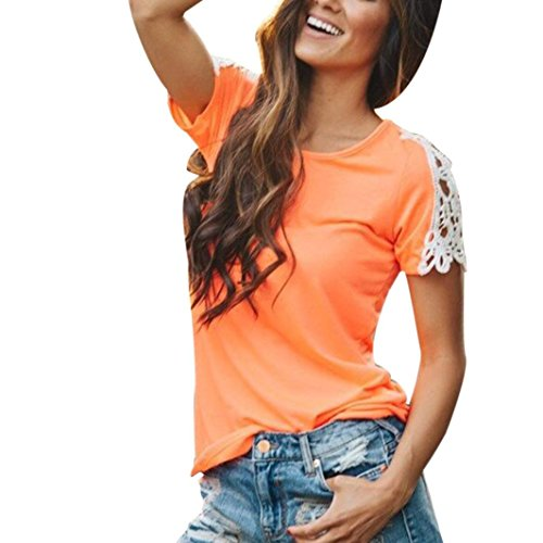 Wintialy Women Casual Short Sleeve Patchwork Shirt Lace Top Lee Blouse from Wintialy women clothes