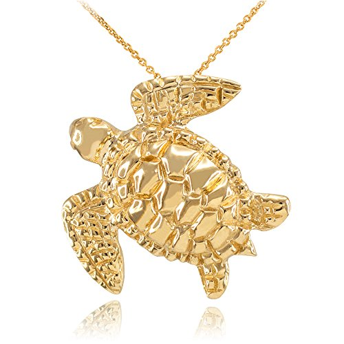 14k Yellow Gold Textured Style Sea Turtle Pendant Necklace, 22'' by Sea Life Collection