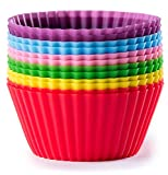 Valdeen (TM) Best Silicone Baking Cups. 12 Reusable Non Stick Cupcake Liners in 6 Bright Colors. Perfect for cupcakes, muffins, cheesecakes, desserts. LIFETIME Warrantee