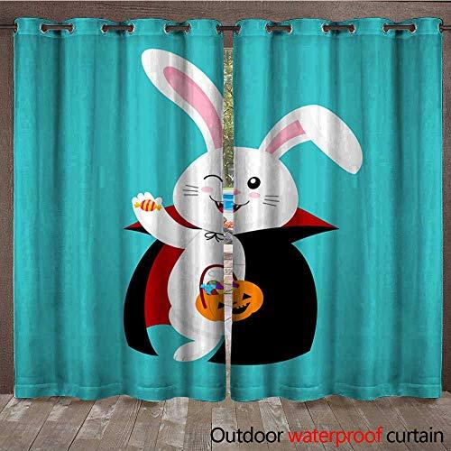 BlountDecor Porch Curtains Cute Cartoon White Rabbit in Dracula Suit Happy Halloween Day Waterproof CurtainW120 x -