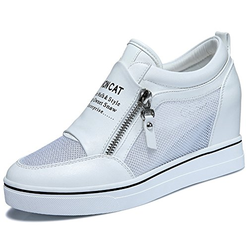 Sneakers Thick Anti White Casual Toe Flat Women Inside MAC Shoes Increased Shoes Round Side U slip Zipper aqS6Ywx