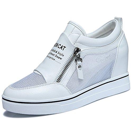 U-mac Dames Anti-slip Ronde Neus Sneakers Verhoogd Binnen Schoenen Zijkant Rits Plat Casual Dikke Schoenen Wit