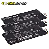 3x Exell Li-Polymer 3.7V 3400mAh Battery Fits ZTE V72 V72a Velox Replaces Li3734T42P5hC66045