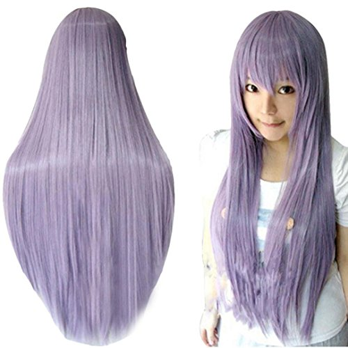 [Wig,Baomabao 80CM Long Straight Cosplay Wig Multicolor Heat Resistant Full Wigs (Purple)] (1950s Wig)