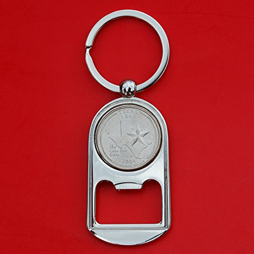 Silver Quarter Key (US 2004 Texas State Quarter BU Uncirculated Coin Silver Tone Key Chain Ring Bottle Opener NEW)