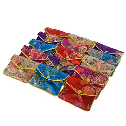 Baitaihem 15 Pack Jewelry Purse Pouch Gift Bags Chinese Silk Style Brocade Embroidered Bag,Multiple Colors(Medium)