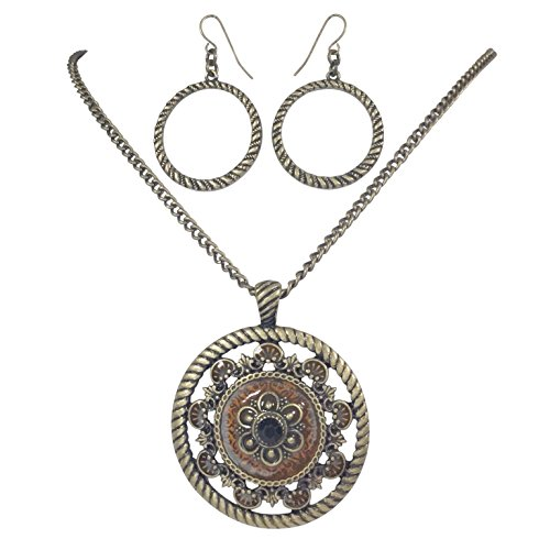 Gypsy Jewels Round Medallion Pendant Statement Necklace & Earring Set - Assorted Colors (Brown Gold Tone)
