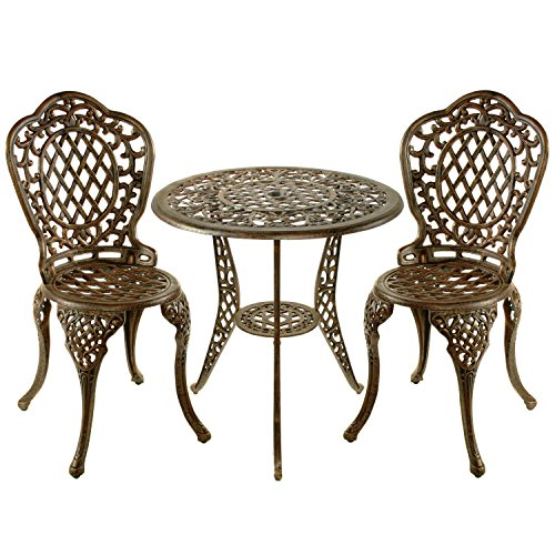Oakland Living Mississippi Cast Aluminum 3-Piece Bistro Set with 26-Inch Table, Antique Bronze