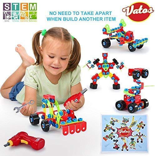 VATOS Building Blocks Toy for Kids, STEM Toys 550 Piece Building Blocks & Screw Toy for 5, 6, 7, 8+ Year Old Educational Birthday & Christmas Toy for Boys & Girls |Take-A-Part Toys