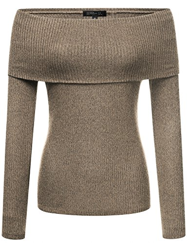 FPT Womens Long Sleeve Ribbed Off The Shoulder Cowl Neck Top TAUPE SMALL
