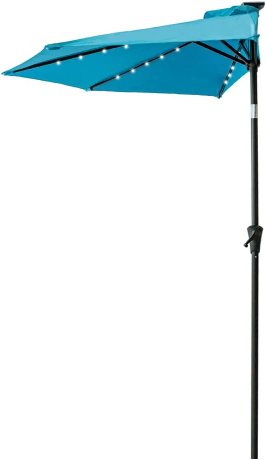 FLAME SHADE 9 LED Half Outdoor Patio Market Umbrella with Solar Lights and Tilt for Outside Deck Terrace or Balcony Shade, Aqua Blue