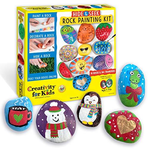Creativity for Kids Hide & Seek Rock Painting Kit – Arts & Crafts For Kids – Includes Rocks & Waterproof Paint