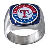 JACMEL JEWELRY INC. MLB Texas Rangers Men's Ring, Blue/Red/White/Silver, Size 10