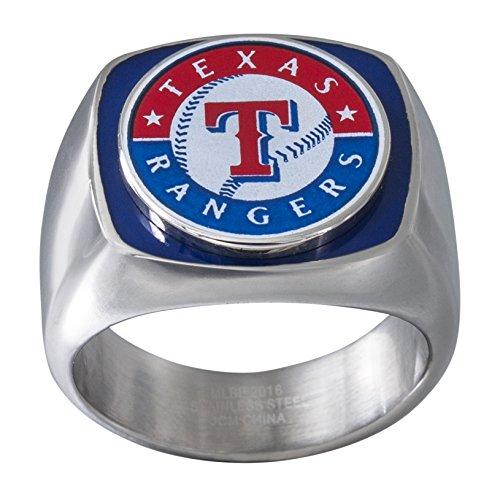 JACMEL JEWELRY INC. MLB Texas Rangers Men's Ring, Blue/Red/White/Silver, Size (Texas Rangers Logo Pendant)