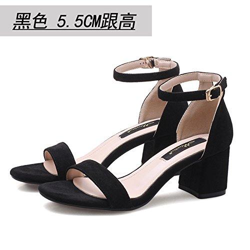 De El Alumnas Mujer De Cómodos Sandalias La Zapatos Una De Tierra Banda GAOLIM En Con Palabra Color Crudo 5Cm Verano Negro5 Tacones SXwpxqv