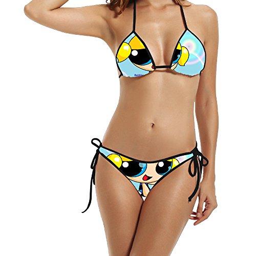 Womens Exclusive Design Two-Piece The Powerpuff Girls Bikini Suit Sexy Beach Swimwear (Powerpuff Girls Sexy)