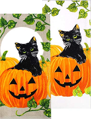 (Celebrate Halloween Black Cat Kitchen Towel Set, Cat & Pumpkin Dish Towel Pack of 2)