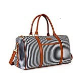Women Weekender Bag, Large Canvas Travel Duffel Tote Holdall for Women Overnight Weekend Bag with PU Leather Handle and Strap
