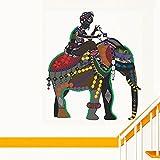 Decals Design 'Indian Art Elephant Rider' Wall Sticker (PVC Vinyl, 70 cm x 50 cm)