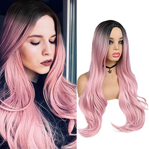 WIGER Ombre Pink Wig Dark Roots Middle Part Long Natural Hair Wigs 28