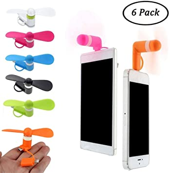 SIMUER 2 en 1 portátil Ventilador de refrigeración Mini USB Ventilador para Android y iPhone (6 Piezas): Amazon.es: Electrónica