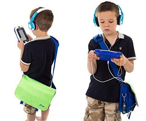 Ultimateaddons Enfants Sacoche avec Animal Casques Pour LeafPad Innotab 5 6 7 Tablettes - Chien, Jaune/Bleu
