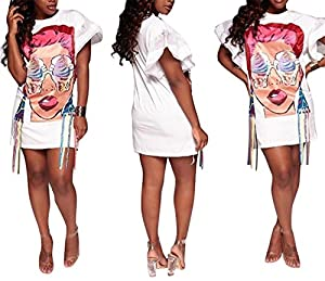 Speedle Womens Crew Neck Short Ruffle Sleeves Shirt Dresses Digital Graffiti Print Club Party Dress