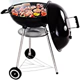 Giantex BBQ Kettle Charcoal Grill Outdoor Cooking Patio Backyard Garden Lawn Camping Picnic Stainless Steel Portable Barbecue Charcoal Grills w/Wheels Shelf Temperature Gauge, Black (22.5 Inch)