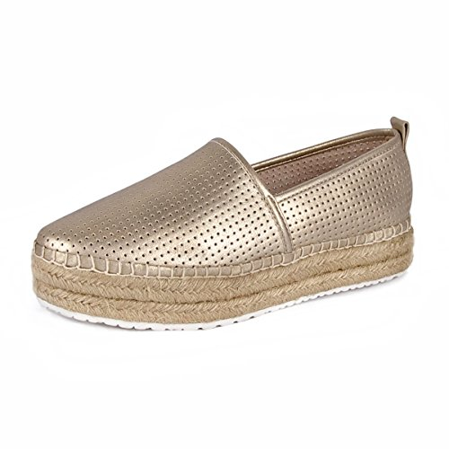 HighPumps Women's Chic Breathable Platform Gold Color Slip On Loafers Espadrille Flats (6.5)