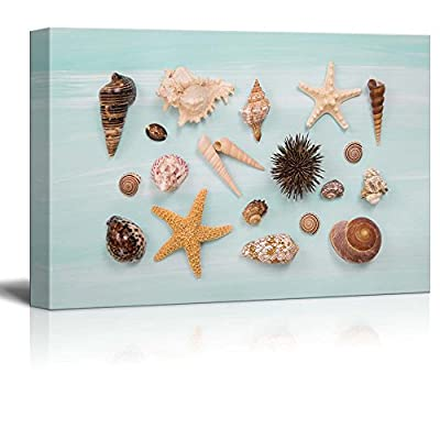 Canvas Prints Wall Art - Arrangement of Different Shells and Starfishes on Blue or Turquoise Wooden Background - 12