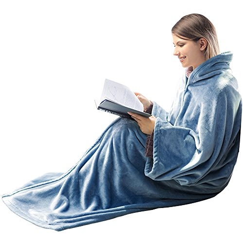 HONEYMOON HOME FASHIONS Fleece Flannel Wearable Blanket for Adult 2-in-1 Cozy Fuzzy Fluffy Soft Snuggle Throw with Horn Button and Zipper Closure, Midnight Blue by HONEYMOON HOME FASHIONS
