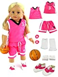 Pink Basketball Player Uniform | Fits 18' American Girl Dolls, Madame Alexander, Our Generation, etc. | 18 Inch Doll Clothes