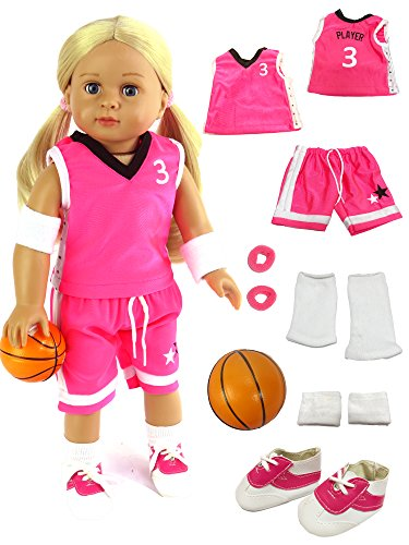 Pink Basketball Player Uniform | Fits 18 American Girl Dolls, Madame Alexander, Our Generation, etc. | 18 Inch Doll Clothes