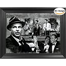 """The Rat Pack The Rat Shooting Pool 3D Lenticular Picture - Frank Sinatra, Dean Martin, Sammy Davis Jr., Peter Lawford and Joey Bishop Shooting - 14.5x18.5"""" - Life Like 3D Art Poster, Cool Art Deco"""