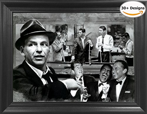 The Rat Pack The Rat Shooting Pool 3D Lenticular Picture - Frank Sinatra, Dean Martin, Sammy Davis Jr., Peter Lawford and Joey Bishop Shooting - 14.5x18.5