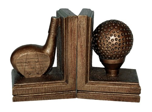 Hickory Manor House Golf Bookends, Tarnished Gold (Bookends Bookends House)