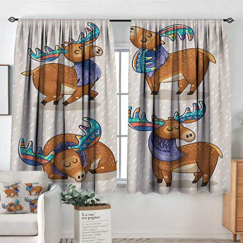 (Moose Thermal Insulating Blackout Curtain Kids Cartoon Inspired Cute Elks with Antlers Friendly Nursery Kids Theme Artwork Patterned Drape for Glass Door 63
