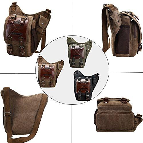 d2fcf1ba37e Chikencall Mens Boys Vintage Canvas Bags Retro Casual Shoulder Bag Leather  Single Shoulder Cross Bod